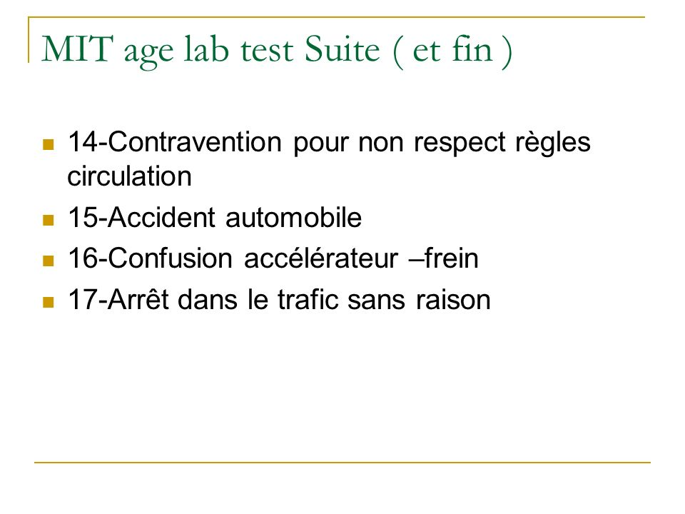 MIT age lab test Suite ( et fin )