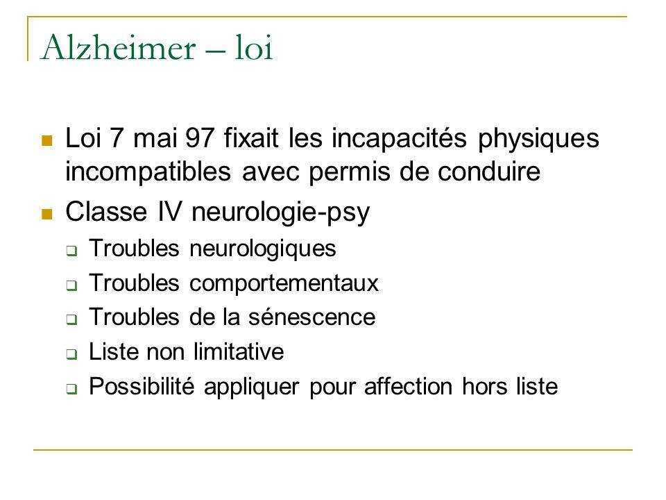 Alzheimer – loi Loi 7 mai 97 fixait les incapacités physiques incompatibles avec permis de conduire.
