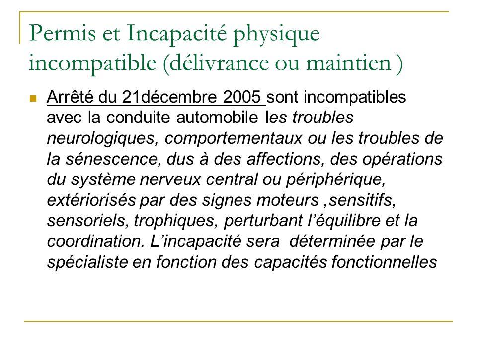Permis et Incapacité physique incompatible (délivrance ou maintien )