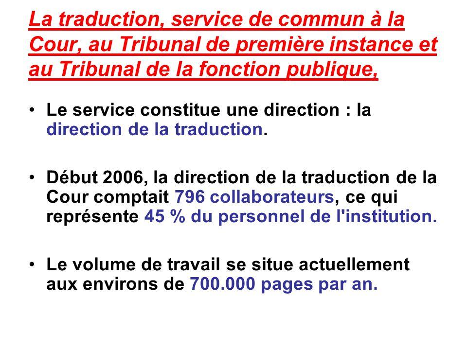 La traduction, service de commun à la Cour, au Tribunal de première instance et au Tribunal de la fonction publique,
