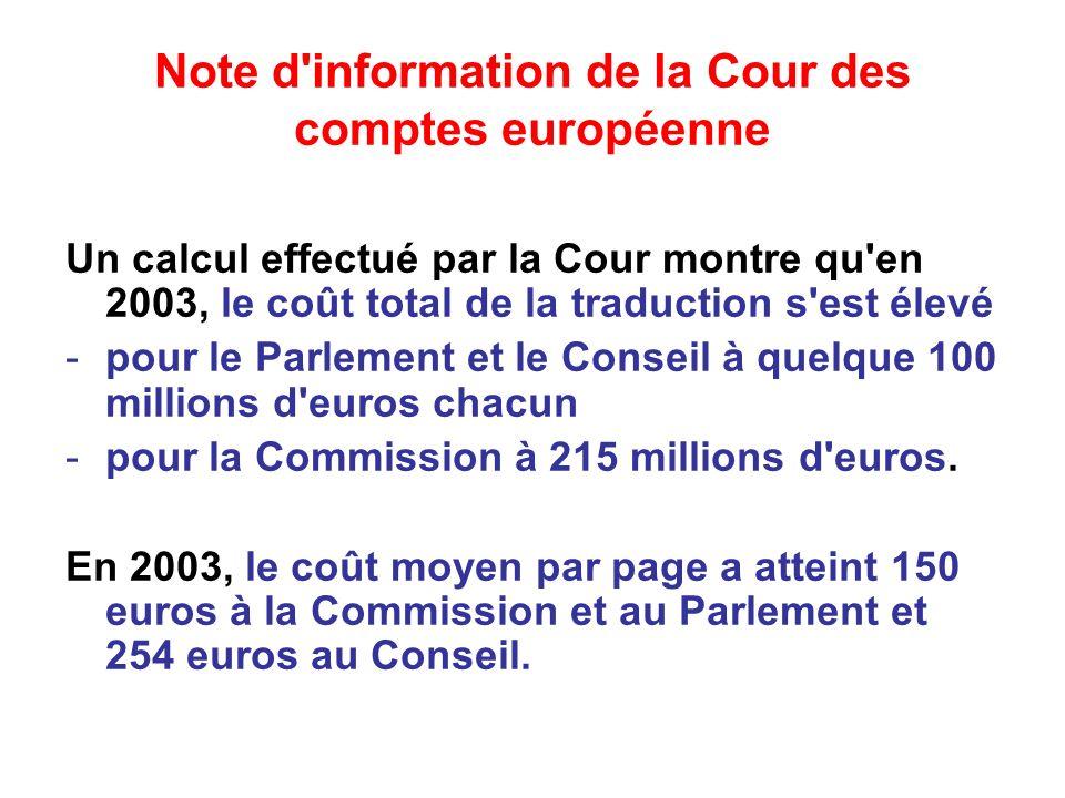 Note d information de la Cour des comptes européenne