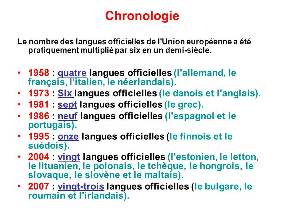 Chronologie Le nombre des langues officielles de l Union européenne a été pratiquement multiplié par six en un demi-siècle.