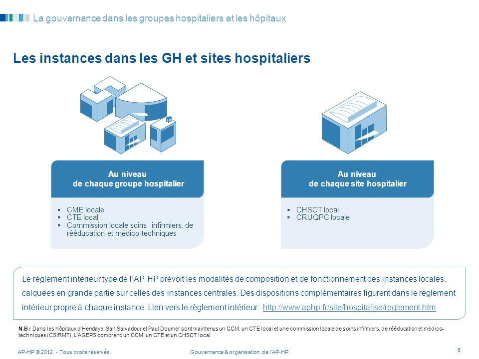 Les instances dans les GH et sites hospitaliers