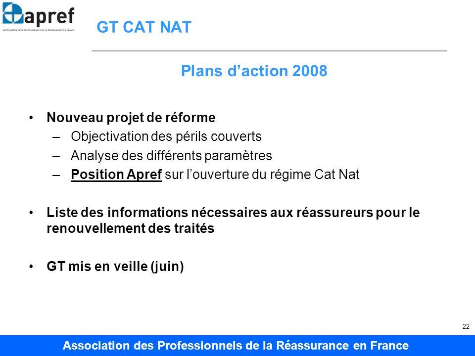 GT CAT NAT Plans d'action 2008 Nouveau projet de réforme