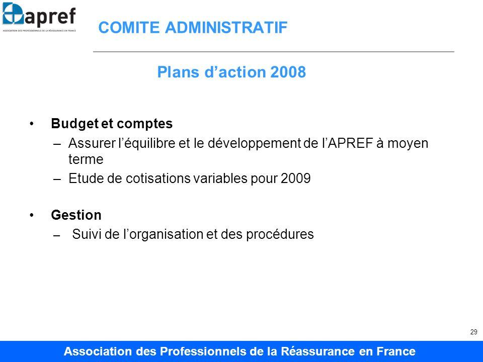 COMITE ADMINISTRATIF Plans d'action 2008 Budget et comptes