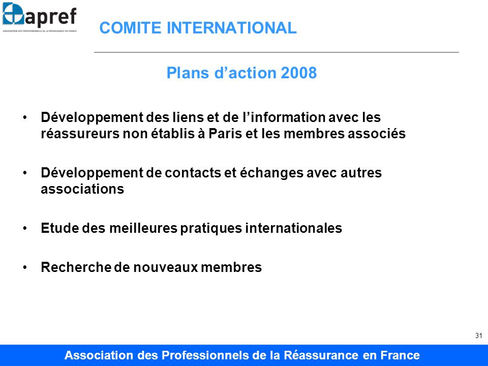 COMITE INTERNATIONAL Plans d'action 2008