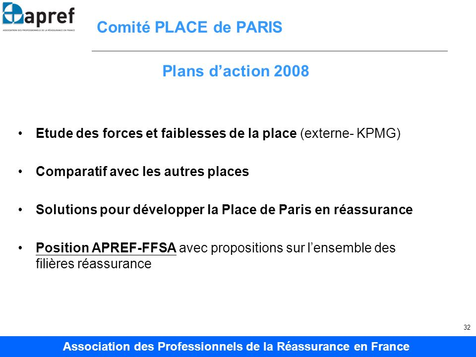 Comité PLACE de PARIS Plans d'action 2008