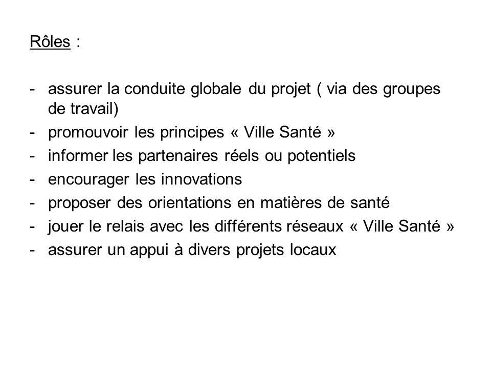 Rôles : - assurer la conduite globale du projet ( via des groupes de travail) - promouvoir les principes « Ville Santé »