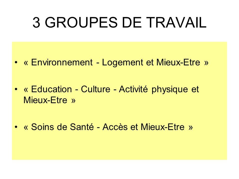 3 GROUPES DE TRAVAIL « Environnement - Logement et Mieux-Etre »