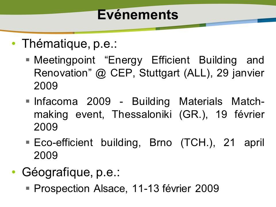 Evénements Thématique, p.e.: Géografique, p.e.: