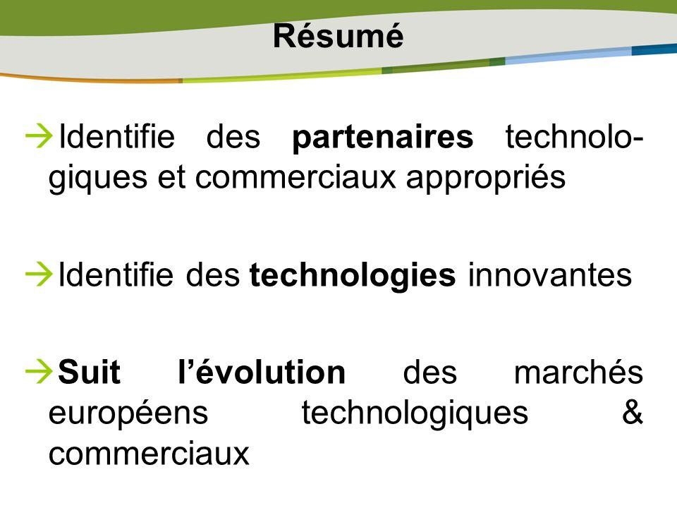 Résumé Identifie des partenaires technolo-giques et commerciaux appropriés. Identifie des technologies innovantes.