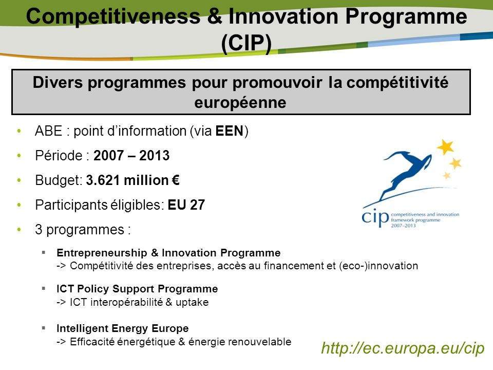 Competitiveness & Innovation Programme (CIP)
