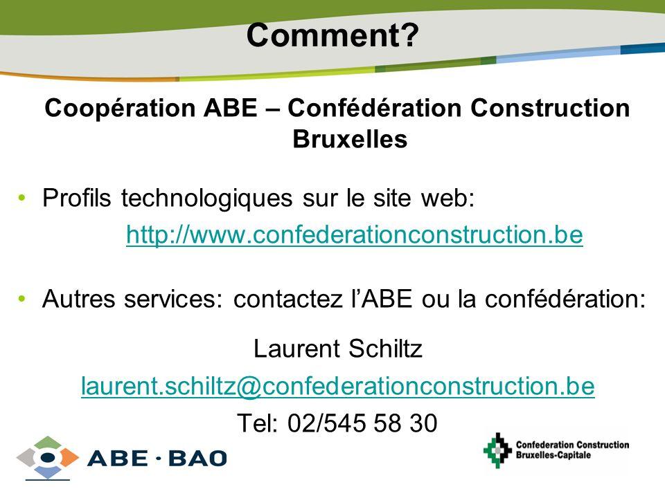 Coopération ABE – Confédération Construction Bruxelles