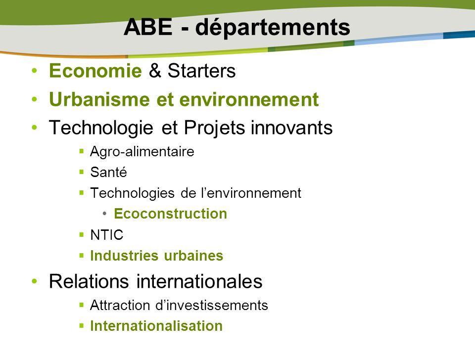 ABE - départements Economie & Starters Urbanisme et environnement