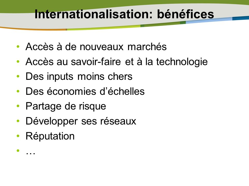 Internationalisation: bénéfices