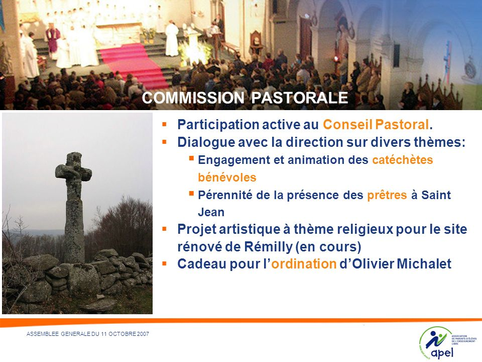 COMMISSION PASTORALE Participation active au Conseil Pastoral.