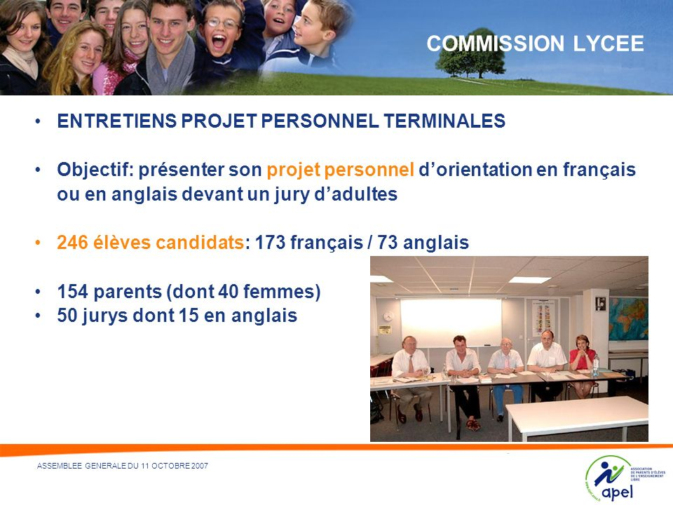 COMMISSION LYCEE ENTRETIENS PROJET PERSONNEL TERMINALES