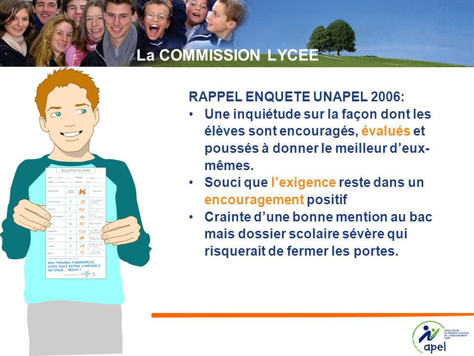 La COMMISSION LYCEE RAPPEL ENQUETE UNAPEL 2006: