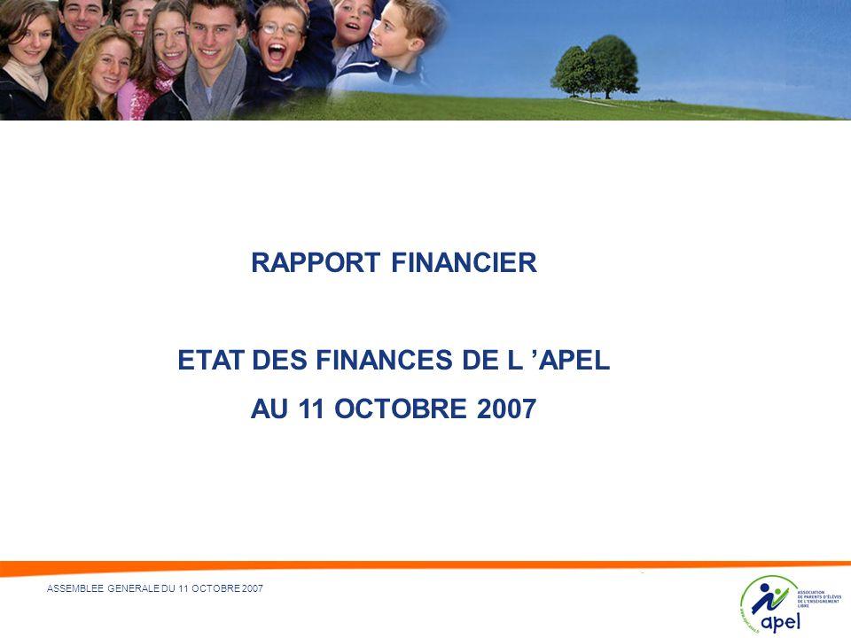 ETAT DES FINANCES DE L 'APEL