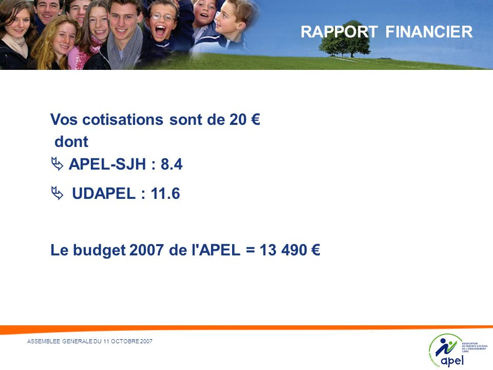 RAPPORT FINANCIER  APEL-SJH : 8.4  UDAPEL : 11.6