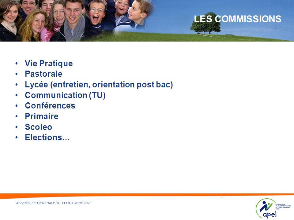 LES COMMISSIONS Vie Pratique Pastorale