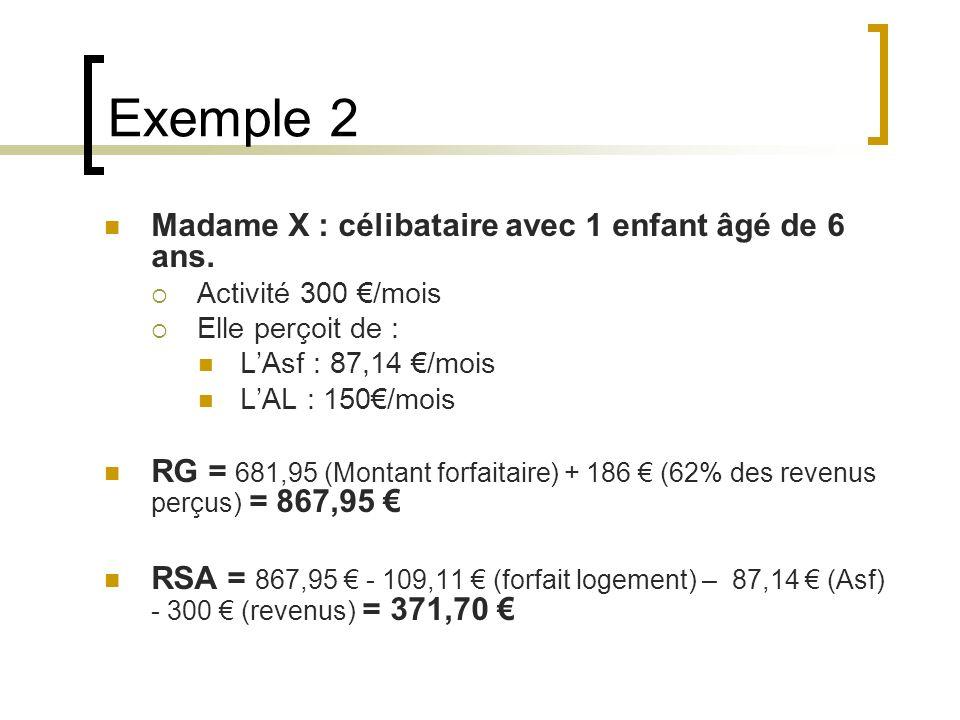 Exemple 2 Madame X : célibataire avec 1 enfant âgé de 6 ans.