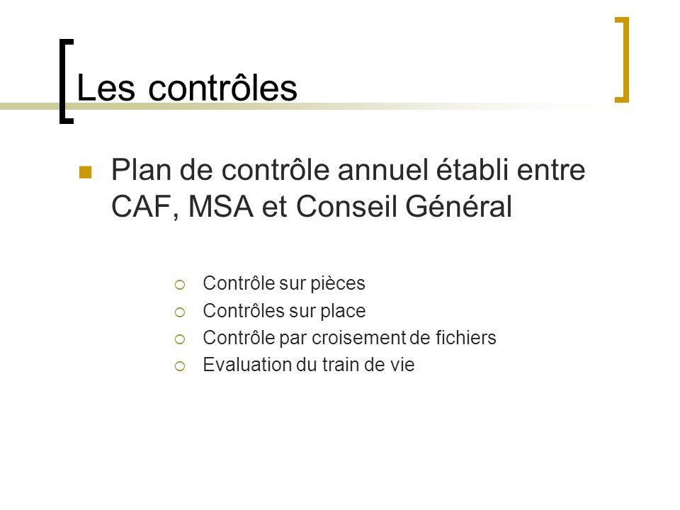 Les contrôles Plan de contrôle annuel établi entre CAF, MSA et Conseil Général. Contrôle sur pièces.