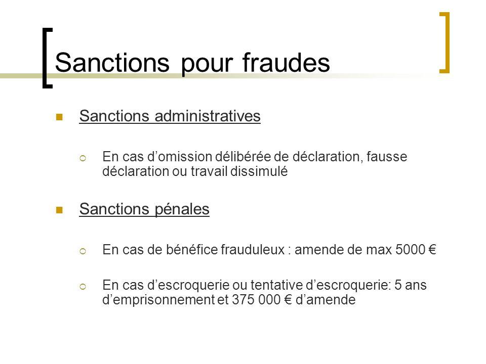 Sanctions pour fraudes