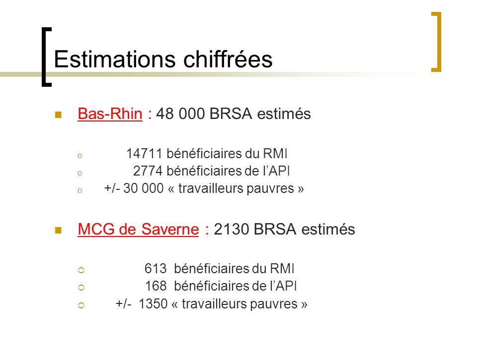 Estimations chiffrées