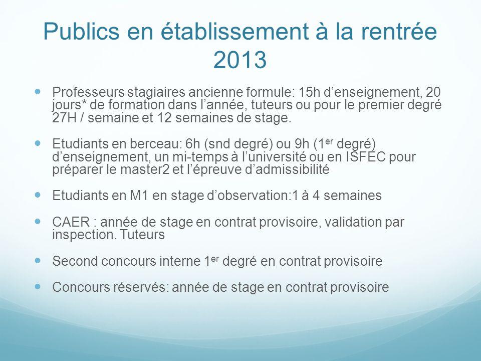 Publics en établissement à la rentrée 2013
