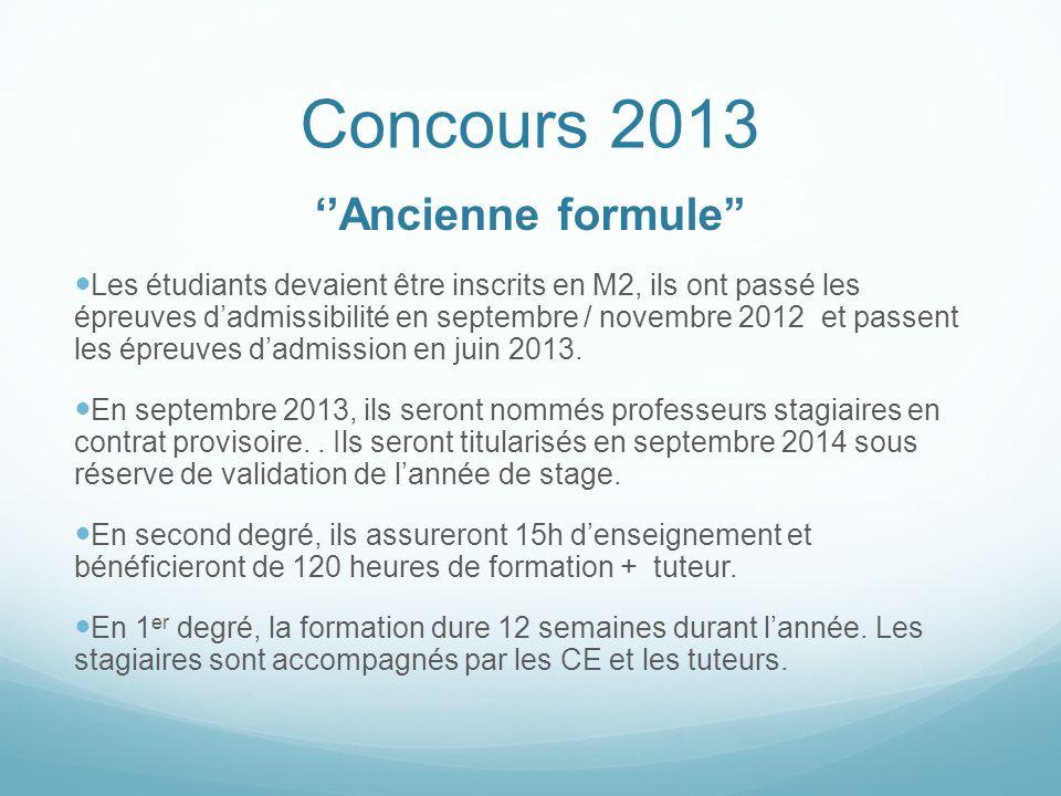 Concours 2013 ''Ancienne formule''