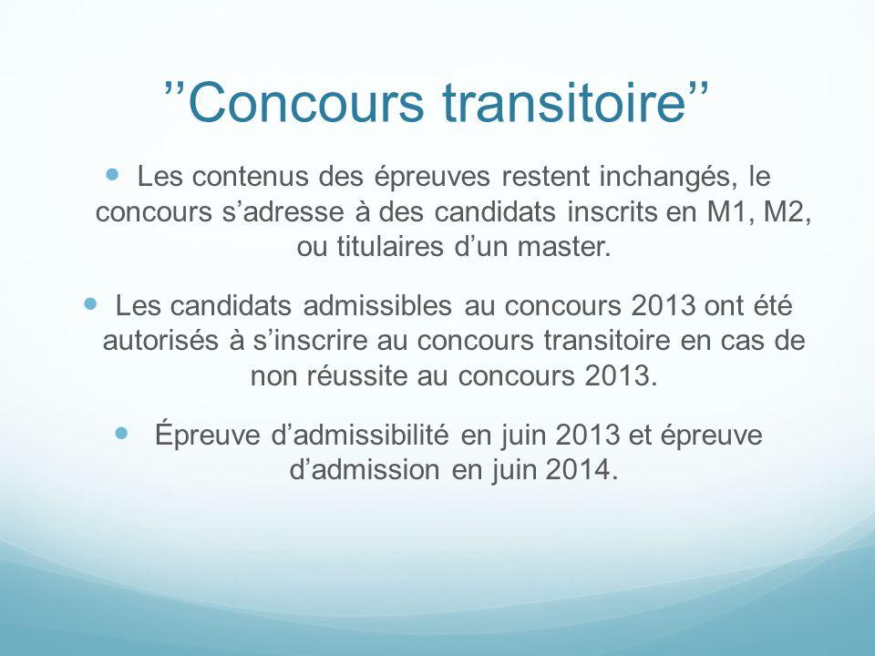 ''Concours transitoire''