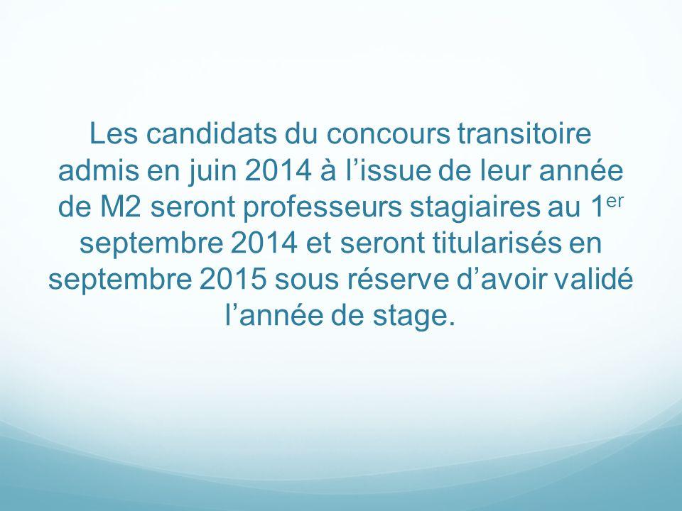 Les candidats du concours transitoire admis en juin 2014 à l'issue de leur année de M2 seront professeurs stagiaires au 1er septembre 2014 et seront titularisés en septembre 2015 sous réserve d'avoir validé l'année de stage.