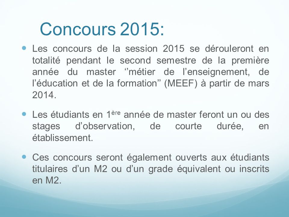 Concours 2015: