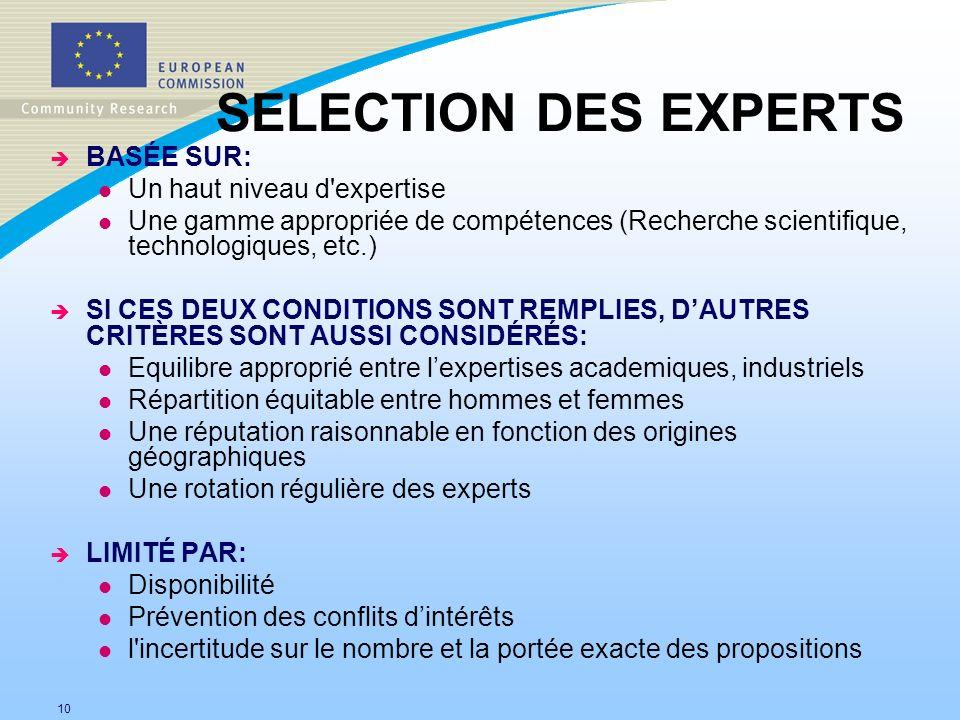 SELECTION DES EXPERTS BASÉE SUR: Un haut niveau d expertise