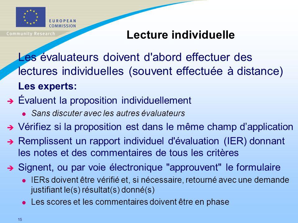 Lecture individuelle Les évaluateurs doivent d abord effectuer des lectures individuelles (souvent effectuée à distance)