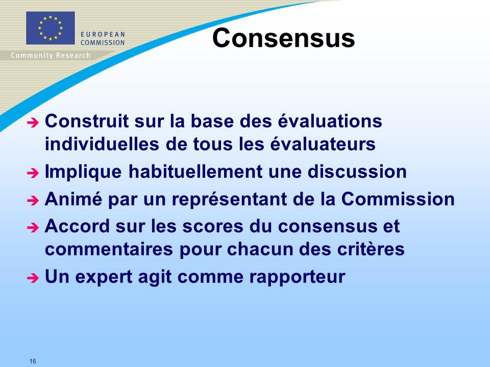 Consensus Construit sur la base des évaluations individuelles de tous les évaluateurs. Implique habituellement une discussion.