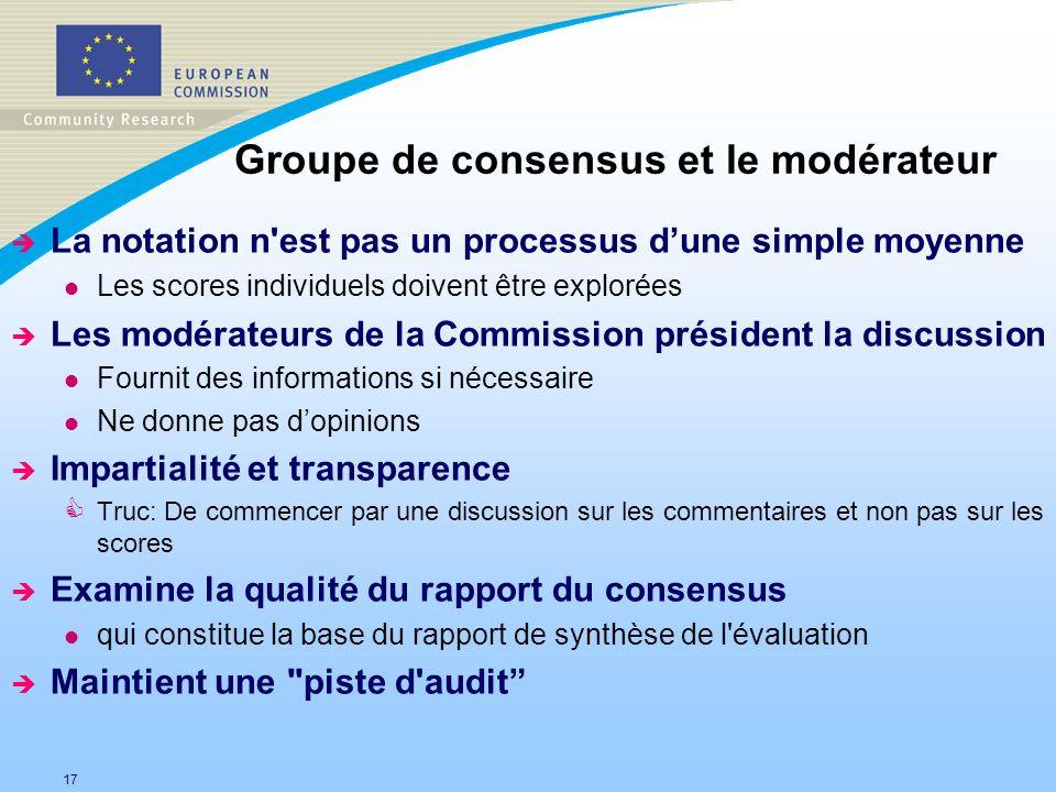 Groupe de consensus et le modérateur