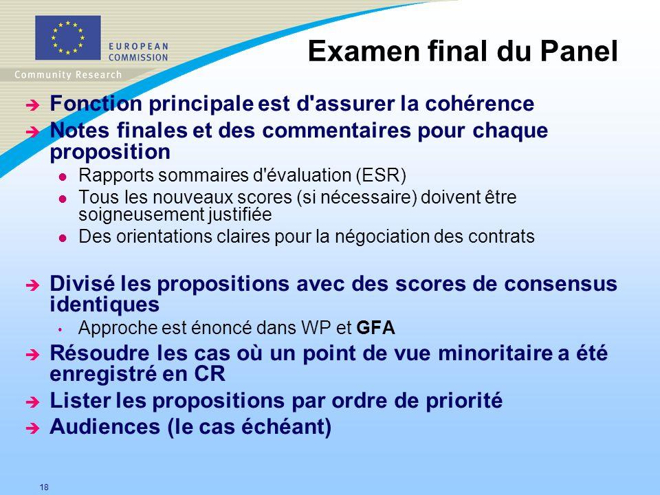Examen final du Panel Fonction principale est d assurer la cohérence