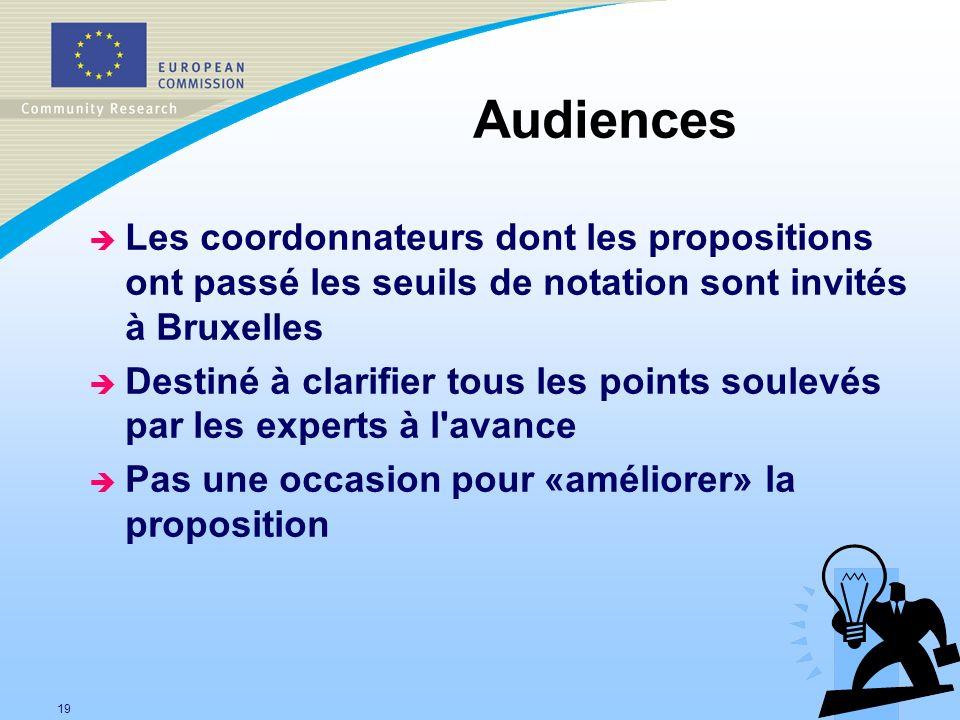 Audiences Les coordonnateurs dont les propositions ont passé les seuils de notation sont invités à Bruxelles.