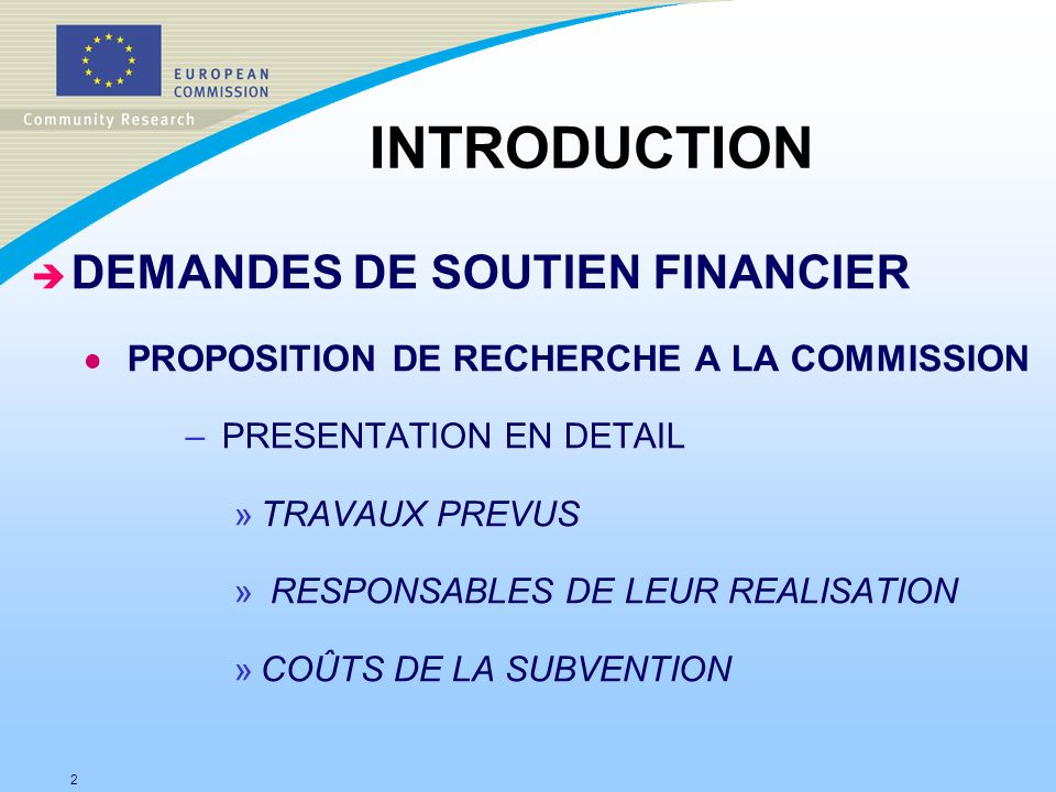 INTRODUCTION DEMANDES DE SOUTIEN FINANCIER