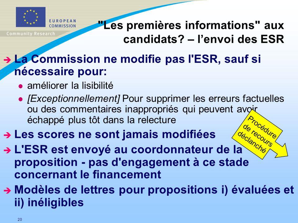 Les premières informations aux candidats – l'envoi des ESR