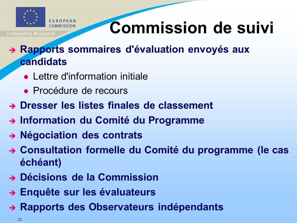 Commission de suivi Rapports sommaires d évaluation envoyés aux candidats. Lettre d information initiale.