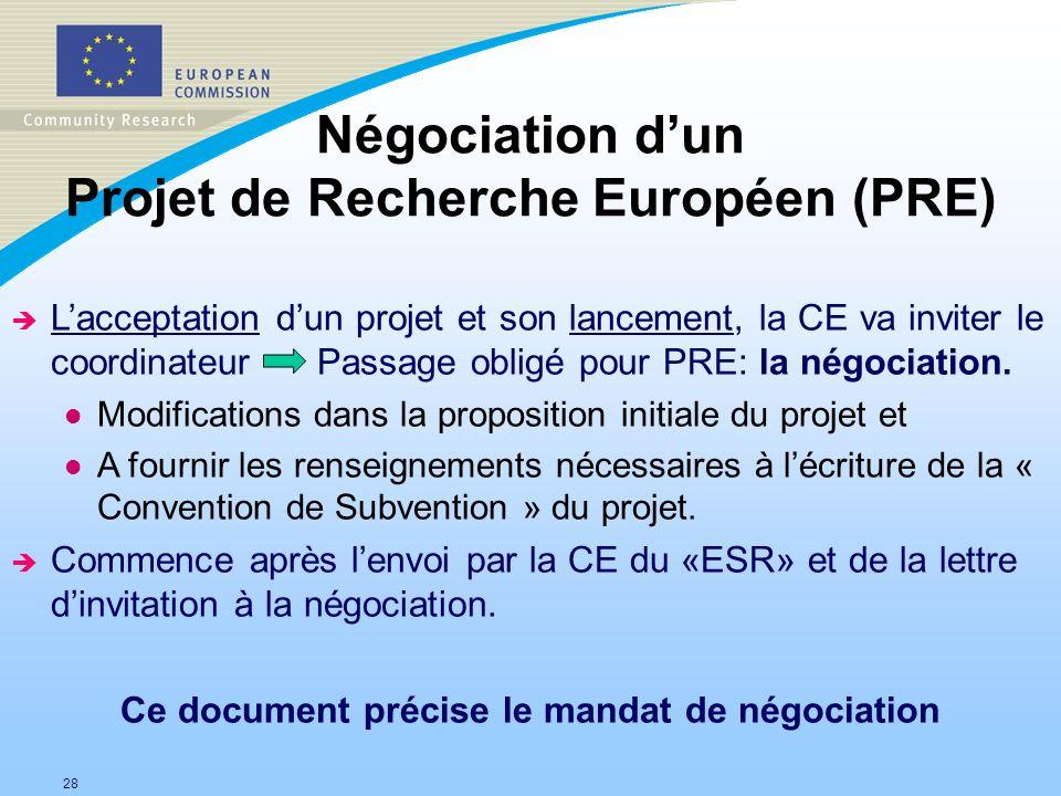 Négociation d'un Projet de Recherche Européen (PRE)