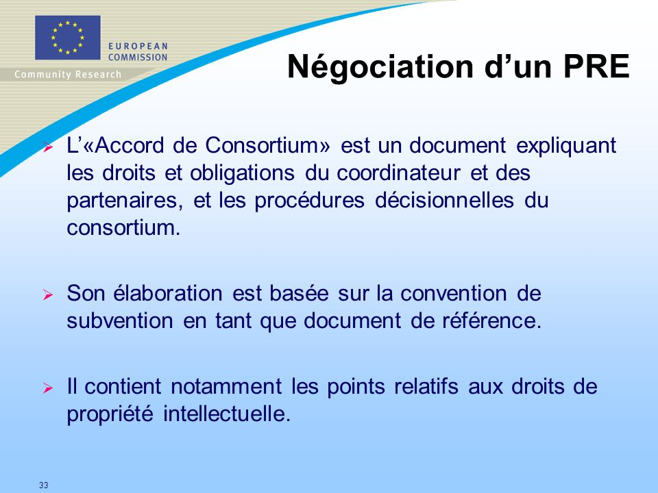 Négociation d'un PRE