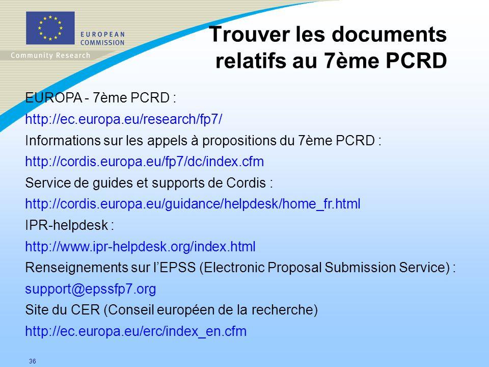 Trouver les documents relatifs au 7ème PCRD EUROPA - 7ème PCRD :
