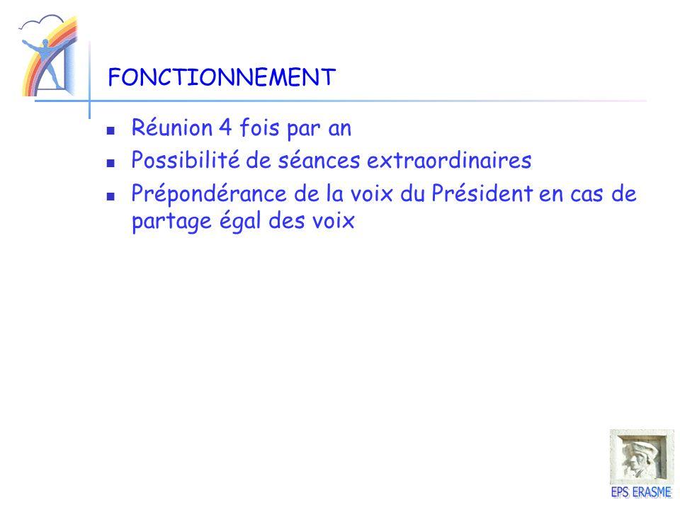 FONCTIONNEMENT Réunion 4 fois par an. Possibilité de séances extraordinaires.