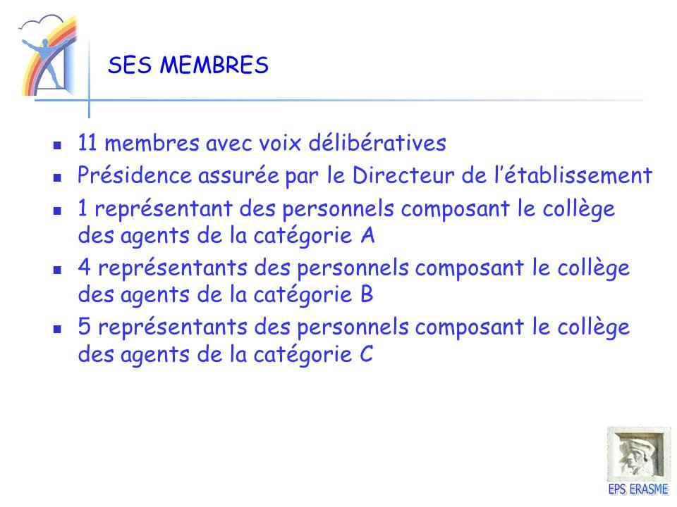SES MEMBRES 11 membres avec voix délibératives. Présidence assurée par le Directeur de l'établissement.