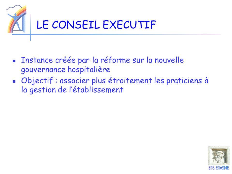 LE CONSEIL EXECUTIF Instance créée par la réforme sur la nouvelle gouvernance hospitalière.