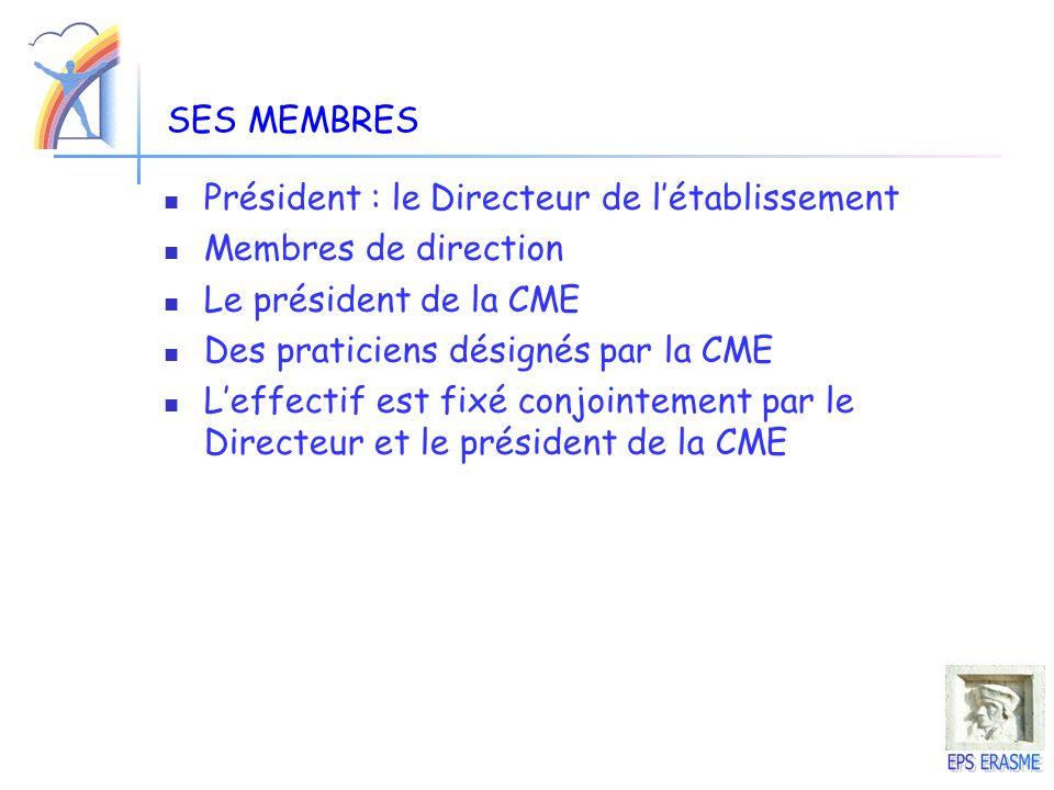 SES MEMBRES Président : le Directeur de l'établissement. Membres de direction. Le président de la CME.